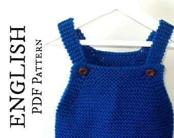 Quick and Easy Baby Romper KNITTING PATTERN, Baby Onesie Knitting Pattern, Knit Baby Sunsuit Pattern, Instant Download, PDF baby pattern