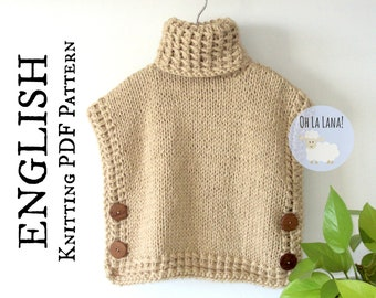 The Bariloche Easy Vest Poncho KNITTING PATTERN, Knit Poncho Pattern, Easy Pullover Knitting Pattern, Instant Download, PDF ohlalana