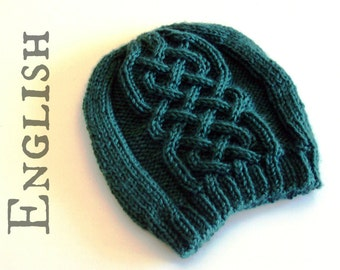 Celtic beanie KNITTIG PATTERN - Celtic cables hat knitting pattern - Celtic hat pattern - Instant download