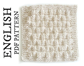 Easy KNITTING PATTERN Dishcloth in Basket Stitch, Easy Washcloth knitting pattern, beginner knitting pattern, Instant download