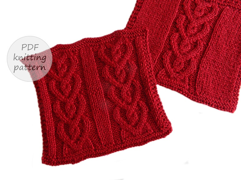 CABLED HEARTS Knitting pattern VALENTINES knitting 2 image 0