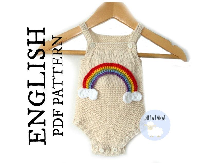 341e97b9a494 Rainbow Baby Romper KNITTING PATTERN Baby Onesie Knitting