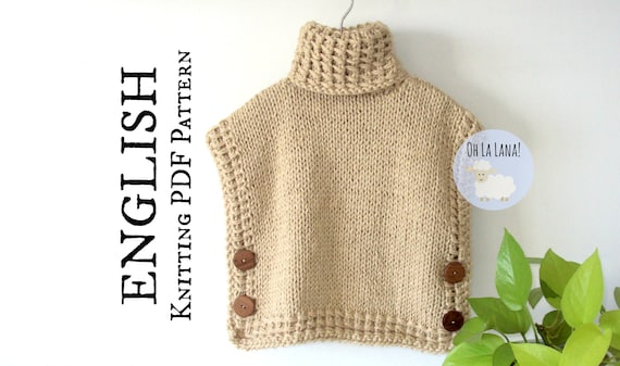 The Bariloche Easy Vest Pullover Knitting Pattern Knit Poncho Etsy