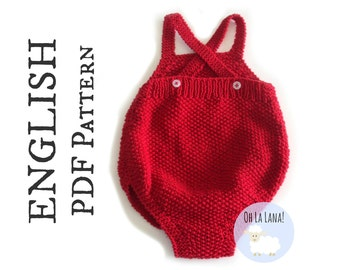 Baby Romper KNITTING PATTERN, Seed Stitch Baby Sunsuit Knitting Pattern, Knit Baby Onesie Pattern, Instant Download, PDF baby pattern