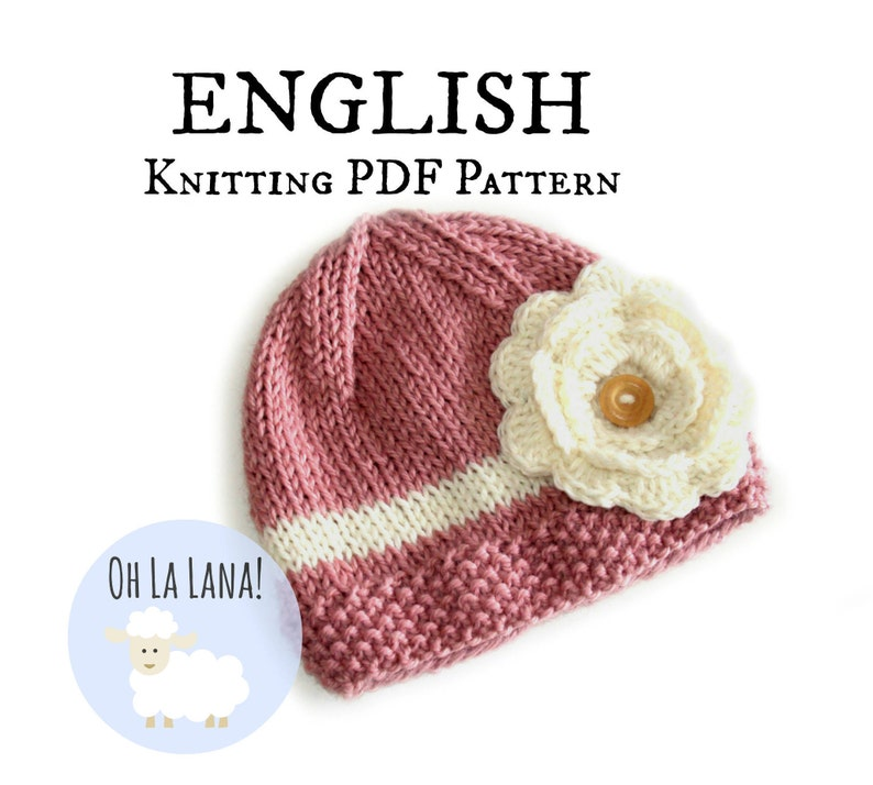 f9771b0ba5fc3 Girl hat Knitting PATTERN for babies and toddlers ENGLISH