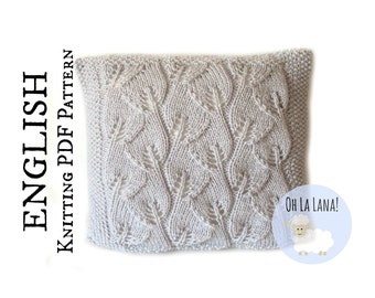 KNITTING PATTERN Leaves pillow cover, pillow knitting pattern, leaves cushion, leaves knitting pattern, INSTANT download