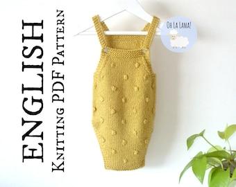 Popcorn Baby Romper KNITTING PATTERN, Baby Onesie Knitting Pattern, Knit Baby Sunsuit Pattern, Instant Download, PDF baby pattern, ohlalana