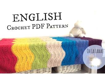 Easy CROCHET PATTERN Waves Baby Blanket, easy crochet baby blanket pattern, beginner crochet pattern, Instant download