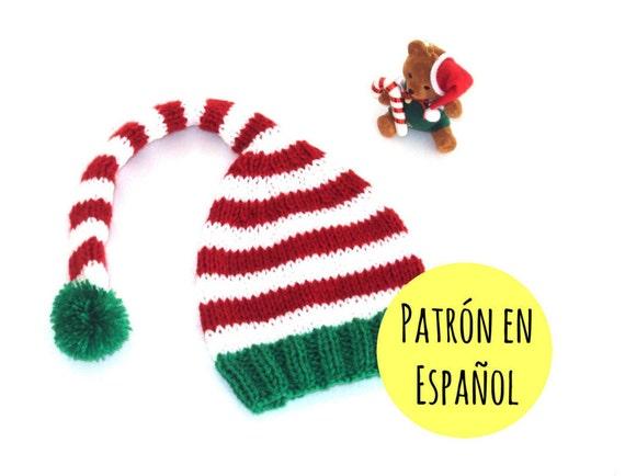 PATRÓN de gorro tejido tipo elfo Patrón gorro Navidad
