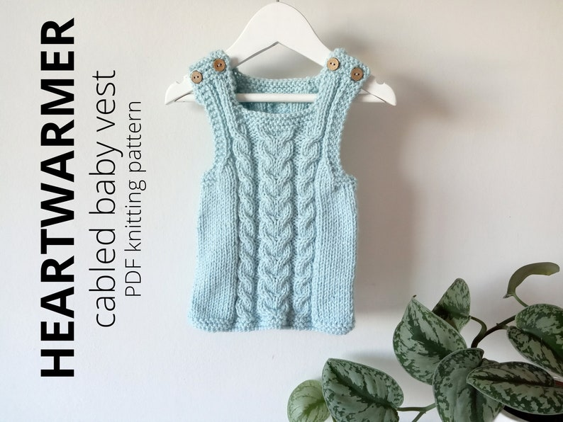 HEARTWARMER cabled baby vest knitting pattern Knit Vest image 0