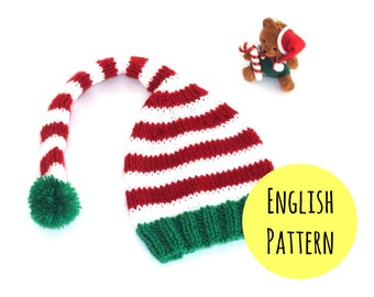 Elf Hat Knitting PATTERN - DIY Christmas hat pattern - Elf hat pattern for babies, toddler and adult sizes - Instant DOWNLOAD