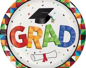 Graduation Party Supplies/Graduation Dessert Plates/Graduation Plates 8 Pack