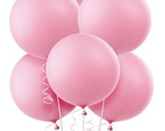 """Large Round Baby Pink Latex Balloons/ 4 CT Large Pink Balloons/ XL 24"""" Inch Round Light Pink Balloons/ Pink Party Balloons"""