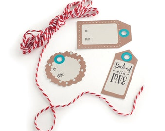Bake and Gift Kraft Tags & Bakers Twine/ Kraft Tags/ Kraft Gift Tags for Treats/ Baked with LOVE Tags/ Kraft Paper Tags