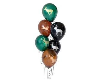 6 PC Buck Deer Latex Balloons/ Deer Hunting Birthday Balloons/ Deer Latex Balloons/ Oh Deer/ Buck Balloons