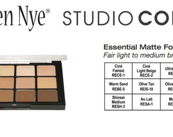 Ben Nye Matte HD Essential Foundation Palette, 12 Classic Shades/Ben Nye Theatrical Foundation Make Up/Ben Nye Professional Make Up Products