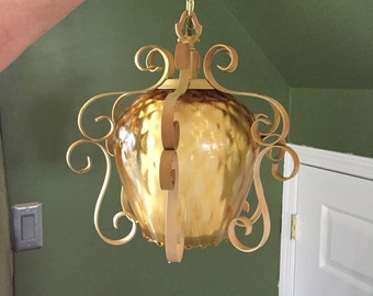 Vintage Wrought Iron/Glass Swag Lamp