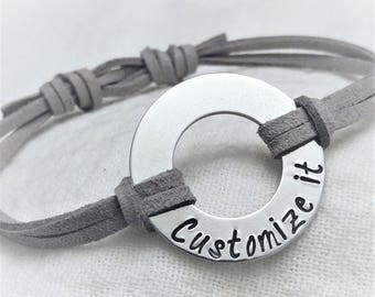 972d8bdae5 Personalized Faux Suede Bracelet, Adjustable Bracelet, Unisex Bracelet, Washer  Bracelet, Hand Stamped Custom Bracelet, Multi Color Bracelet