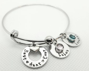 Personalized Aunt Bracelet, Auntie Bracelet, Aunt Jewelry, Gift for Aunt, Auntie Gift, Auntie Bangle Aunt Bangle, Name bangle, Sister Gift