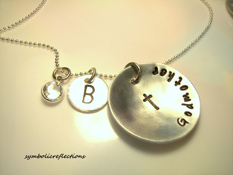 Baptism gift Hand Stamped Gift Gift for her Godmother Present Godmother Jewelry Personalized Godmother necklace Godmother gift