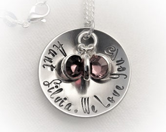 Personalized Aunt Necklace,Aunt Gift,Gift for Aunt,Aunt Jewelry,Hand Stamped Gift,Gift for Her,Birthstone Necklace,Hand Stamped Jewelry