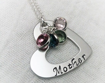 Personalized Mother Necklace, Mom Necklace, Heart Necklace, Mother Jewelry,Mom Jewelry, Gift for Mom,Mother Gift, Hand Stamped Jewelry