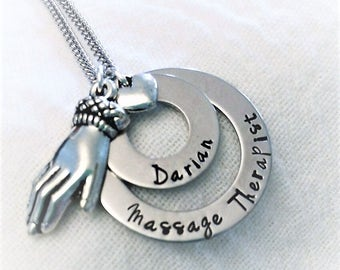 Personalized Massage Therapist Necklace, MT Necklace, Massage Therapy Jewelry, MT Gift, MT Graduation Gift, Massage Therapist Jewelry