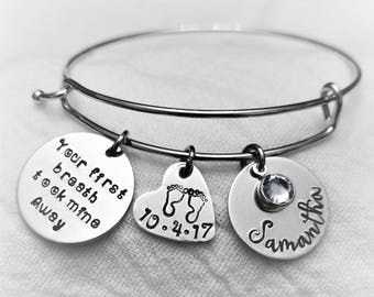 New Mom Bracelet, New Mom Jewelry, Gift for New Mom, Baby Shower Gift, Mommy Jewelry, Personalized Gift, Hand Stamped Jewelry, Gift for Wife