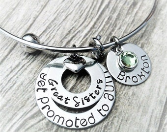 Personalized Aunt Bracelet, Aunt Bangle, Aunt Jewelry, Gift for Aunt, Hand Stamped Gift for Aunt, Adjustable Bangle, Kids Name Bracelet