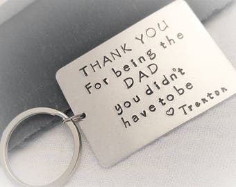 Personalized Stepdad Key Chain - Step Father Key Chain - Birthday gift for Step dad - Hand Stamped Gift - Step Dad KeyChain - Gift for him
