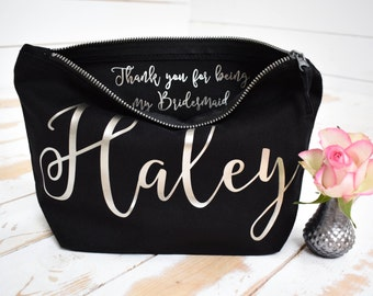 702ba181afdb Personalised Bridesmaid Gift Make Up Bag - Thank you Bridesmaid