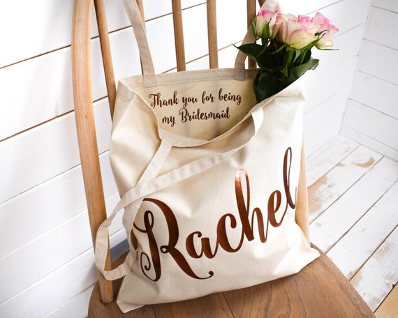 Wedding Thank You Gift Personalised Bridesmaid Gift Tote Bag Etsy