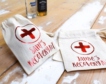 Personalised Recovery Kit Bag - Hangover Survival Kit - Stag Do Hen Party - Wedding Favours Favors or Party Bags Gift, alternative to boxes