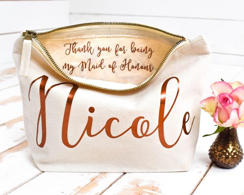 Wedding Thank you Gift  Personalised Bridesmaid Gift Make Up Natural