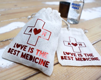 Personalised Hangover Kit Bag For Wedding Favours Hen Party Or Stag Do's. Love is the Best Medicine - Favour Box Alternative - Wedding Favor