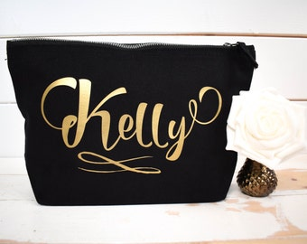 Personalised Make Up Bag with Any Name - Valentine's Day Present - Bridesmaid Gift - Birthday Present - Cosmetic Bag - Bespoke Gift for Her