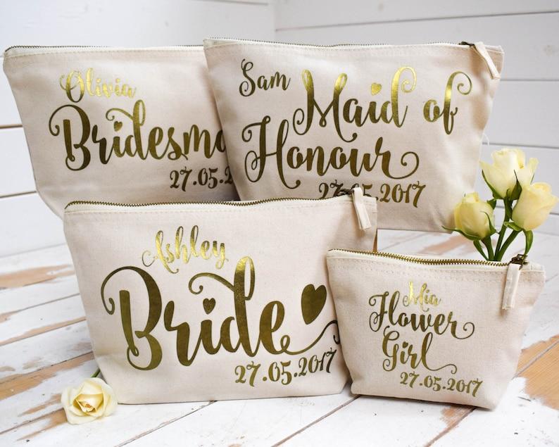 Personalised Bridal Party Gift Make Up Bag Bridesmaid Maid Etsy