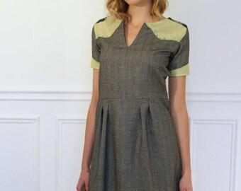 Dress short sleeve Scoop Neck gray color oxide