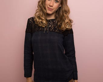 Black Lace and blue gingham blouse / / checkered blouse