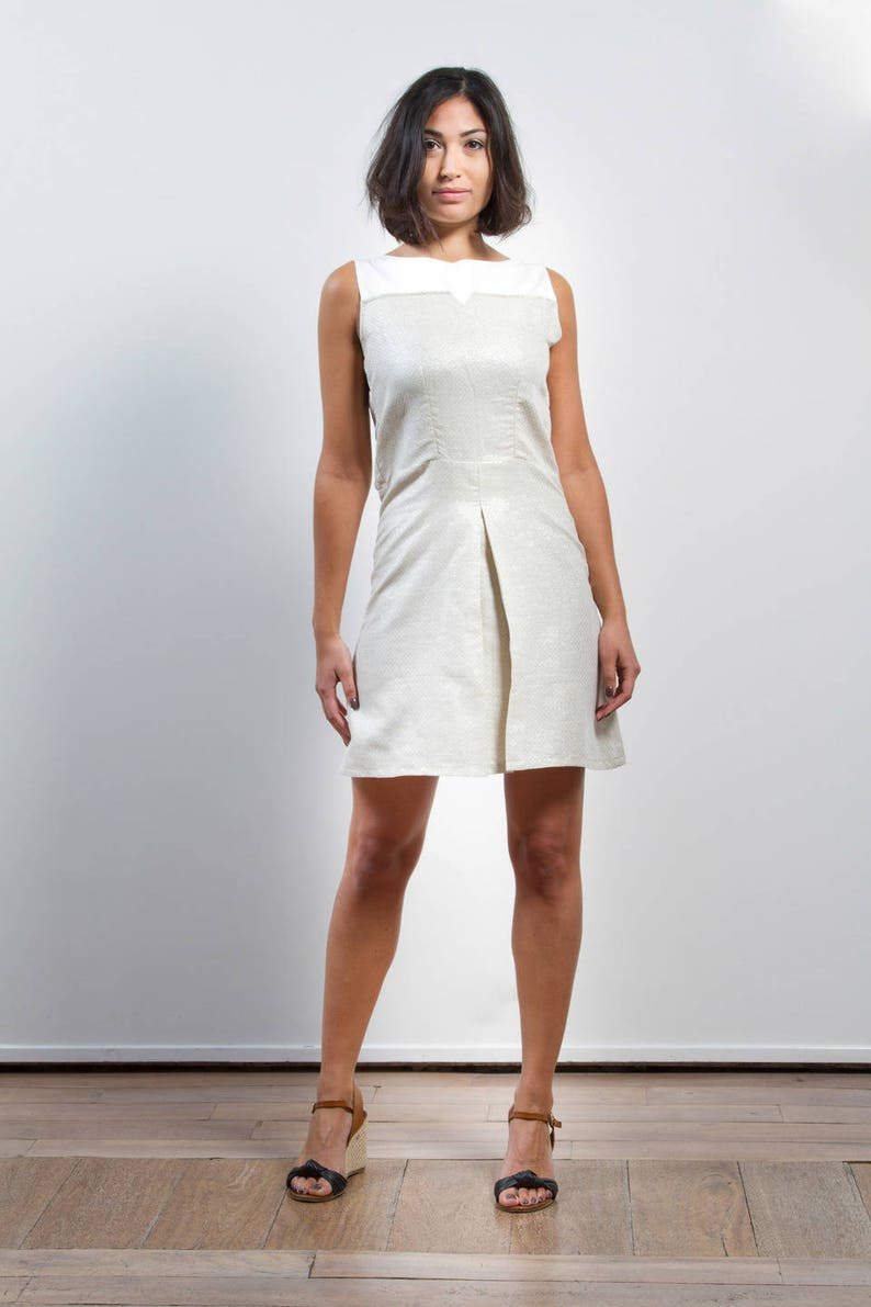 Sleeveless dress in beige and white iridescent linen with flaps in the back  linen dress