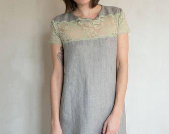 Grey linen and light green lace short dress / / romantic dress