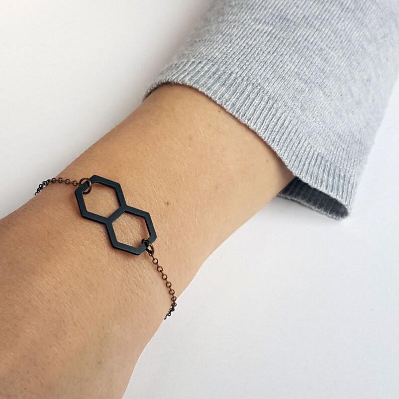 Hexagonal thin bracelet woman minimalist 3D print geometric bracelet women gift jewelry bronze chain