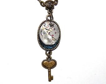 Steampunk Pendant, Steampunk Necklace, Jewelry, Resin,Key, vintage watch parts, antique, Mechanical Watch Movement #et 602