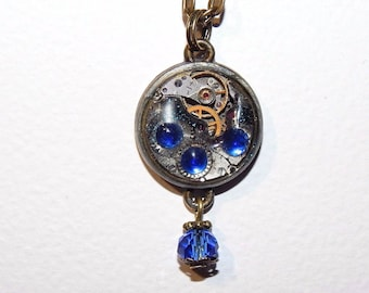 Steampunk Watch Movement Necklace, Small Vintage Watch Movement, Mechanical Watch Movement, Industrial Jewellery Fantasy Steampunk  #et 676
