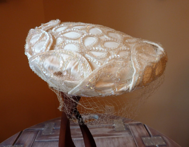 1bdb2c42 Vintage Pill Box Wedding Hat with Sequins and Netting / Creamy | Etsy