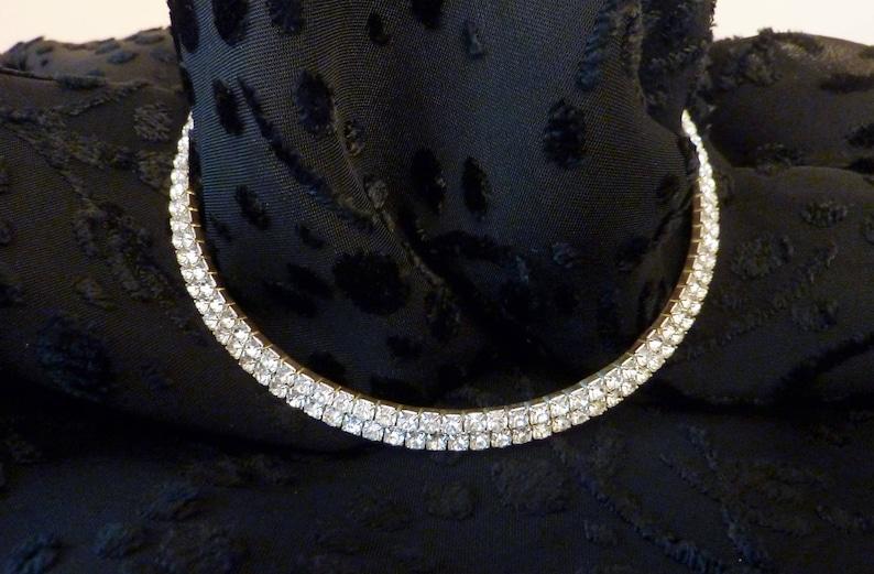 Elegant Double Row Rhinestone Choker  Adjustable Chain Closure   Semi-Flexable  Vintage  Evening  Wedding  Prom