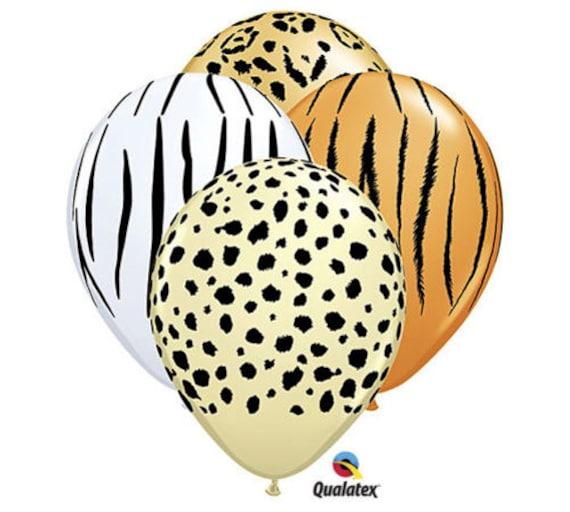 "Pack of 10 Safari Animal Print  12/"" Latex Balloons 4 Animal Patterns Designs"