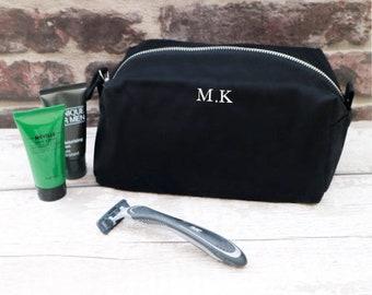 6d0c5ade83 Mens personalised Monogrammed Cotton Black Wash Bag - Mens Gift - Initials