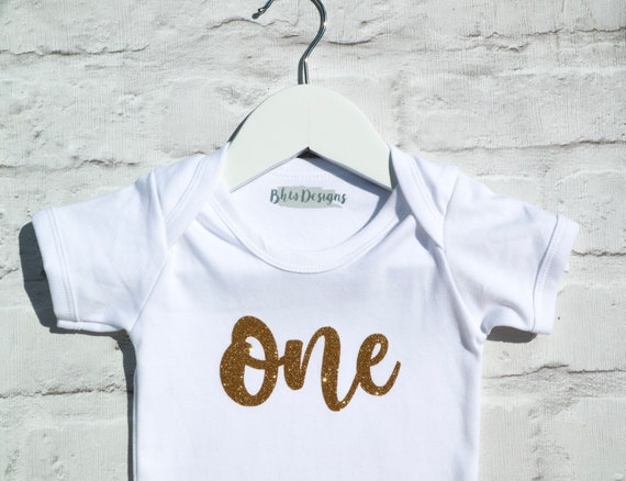c00ef46ac One Glitter Baby Vest Romper Short Sleeve 1st Birthday