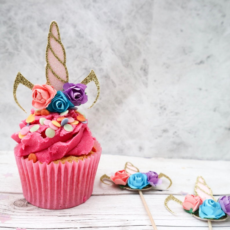 Unicorn Colours Unicorn Flower Glitter Cupcake Toppers Party Birthday